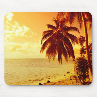 Tropical palm trees at a beach at sunset mousepad