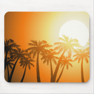 Tropical palm trees at sunset mouse pad