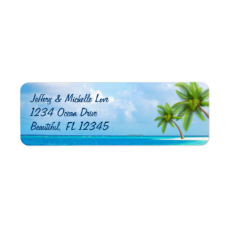 Tropical Palm Trees Beach Address Label