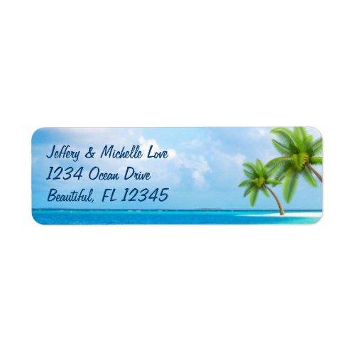Tropical Palm Trees Beach Address Label