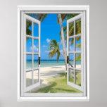 Tropical Palm Trees Beach Ocean View Fake Window Poster