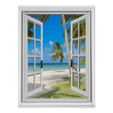Beach Themed Tropical Palm Trees Beach Ocean View Fake Window Poster