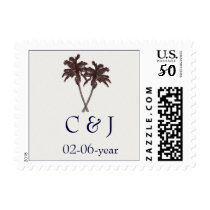 Tropical Palm Trees Beach Wedding Stationery Postage