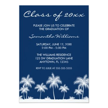 Beach Themed Tropical Palm Trees Blue Graduation Announcement
