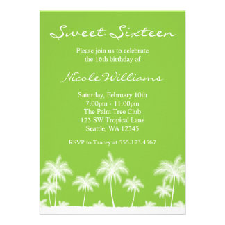 Tropical Palm Trees Green Sweet 16 Invitation Personalized Invites