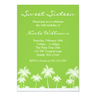 Tropical Palm Trees Green Sweet 16 Invitation