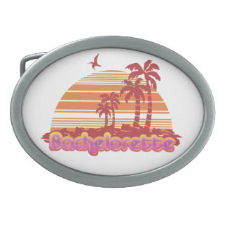 tropical palm trees hawaii bachelorette party oval belt buckle