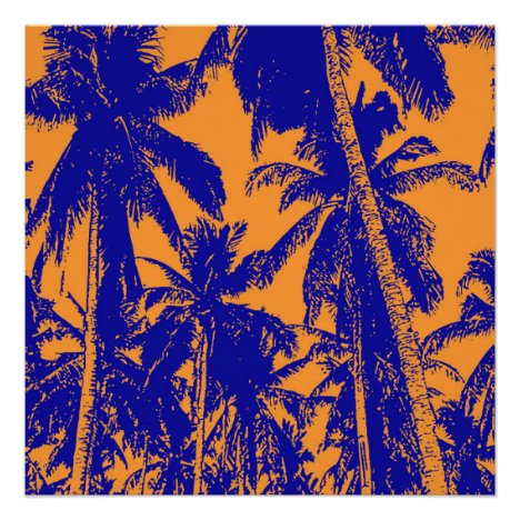 Tropical Palm Trees in Blue and Orange Poster