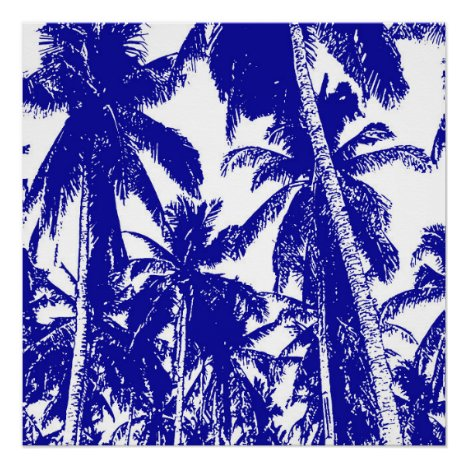 Tropical Palm Trees in Blue and White Poster
