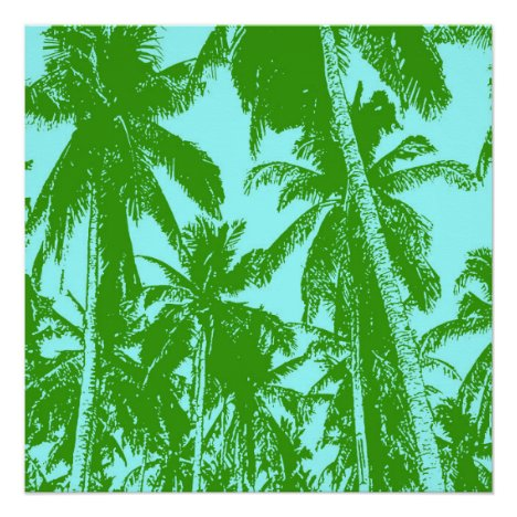 Tropical Palm Trees in Green and Blue Poster