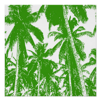 Tropical Palm Trees in Green and White Poster