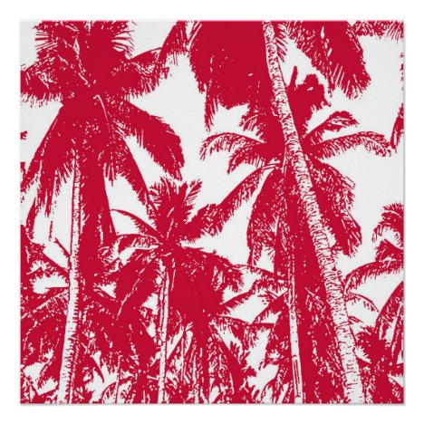 Tropical Palm Trees in Red and White Poster