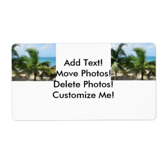 Tropical Palm Trees Label