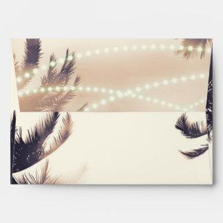 Tropical Palm Trees & Lights Cream Dream Invite Envelope