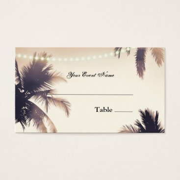 Beach Themed Tropical Palm Trees & Lights Cream Dream Seating Business Card
