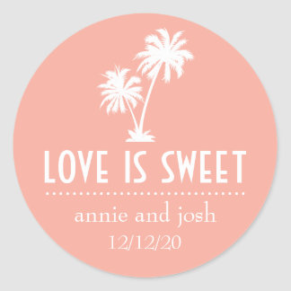 Tropical Palm Trees Love Is Sweet Label (Peach)