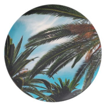 USA Themed Tropical Palm Trees Melamine Plate