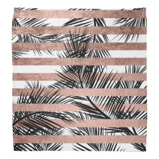 Tropical palm trees modern rose gold stripes bandana