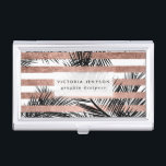 """Tropical palm trees modern rose gold stripes business card holder<br><div class=""""desc"""">A stylish,  modern and tropical design with simple black palm tree leaves with chic,  elegant and luxurious faux rose gold foil stripes pattern,  The white color background is fully customizable</div>"""
