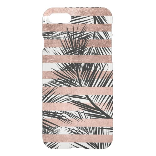 Tropical palm trees modern rose gold stripes Phone Case