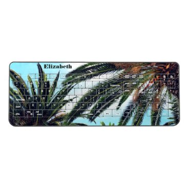 Beach Themed Tropical Palm Trees & Name Wireless Keyboard