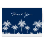 Tropical Palm Trees Navy Blue Thank You Cards