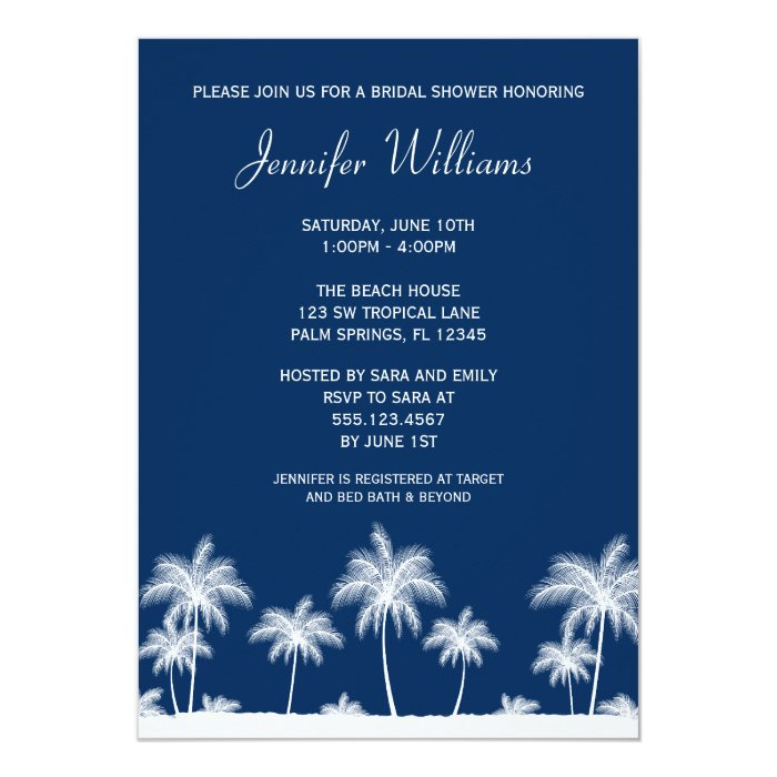 Tropical Palm Trees Navy Bridal Shower Invitation