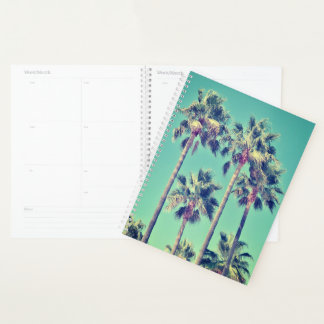 Tropical Palm Trees on Teal Planner