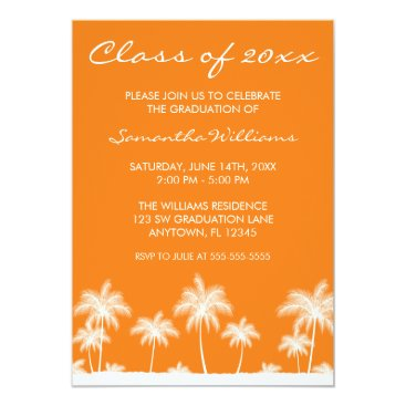 Beach Themed Tropical Palm Trees Orange Graduation Announcement