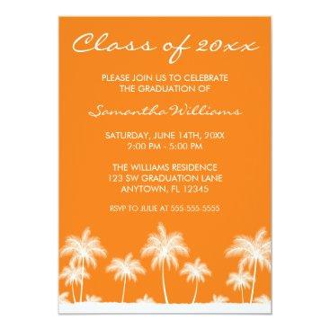 Beach Themed Tropical Palm Trees Orange Graduation Announcement