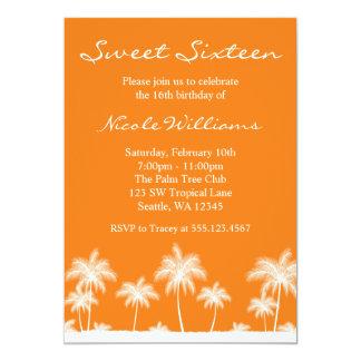Tropical Palm Trees Orange Sweet 16 Invitation