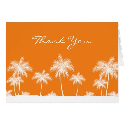 Tropical Palm Trees Orange Thank You Card