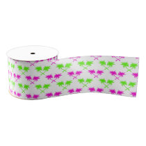 Tropical Palm Trees Pattern Grosgrain Ribbon