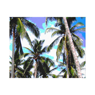 Tropical Palm Trees - Posterised Style Canvas Print