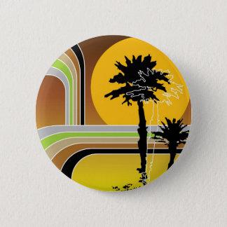 Tropical Palm Trees Retro Beach Sunset Button