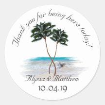 Tropical Palm Trees Round Wedding Sticker
