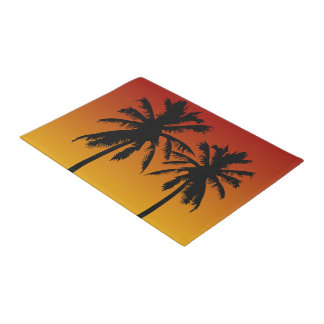 Tropical Palm Trees Silhouette Red Orange Sunset Doormat