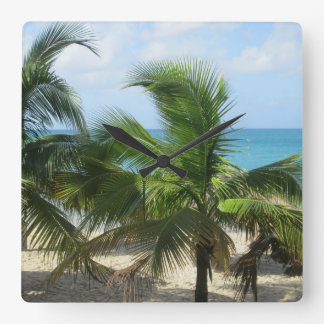 Tropical Palm Trees Square Wall Clock