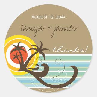 Tropical Palm Trees Sunset Beach Wedding Sticker