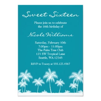 Tropical Palm Trees Teal Blue Sweet 16 Invitation