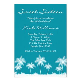 Tropical Palm Trees Teal Blue Sweet 16 Invitation Custom Invite