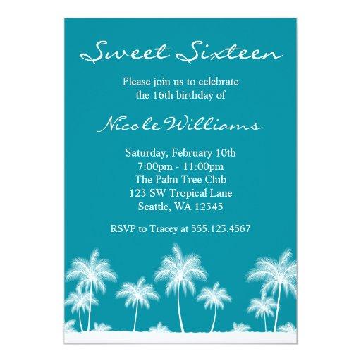 Tropical Palm Trees Teal Blue Sweet 16 Invitation