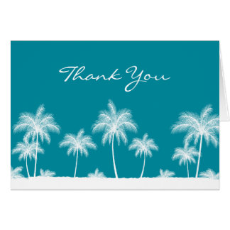 Tropical Palm Trees Teal Blue Thank You Greeting Card
