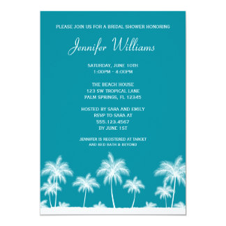 Tropical Palm Trees Teal Bridal Shower Invitation