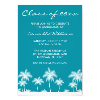 "Tropical Palm Trees Teal Graduation Announcement 5"" X 7"" Invitation Card"