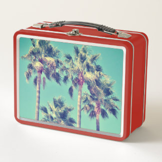 Tropical Palm Trees Vintage Metal Lunch Box