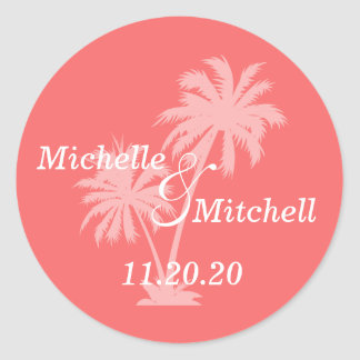 Tropical Palm Trees Wedding Labels (Coral) Classic Round Sticker