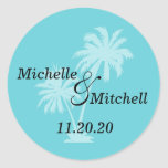 Tropical Palm Trees Wedding Labels (Teal) Round Sticker