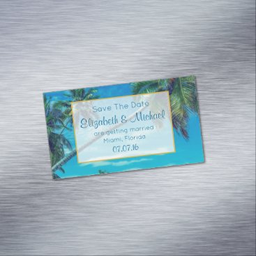 Beach Themed Tropical Palm Trees Wedding Save The Date Magnetic Business Card