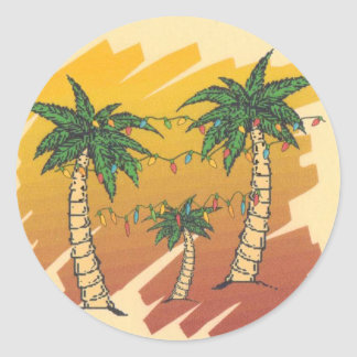 Tropical Palm Trees with Christmas Lights Classic Round Sticker